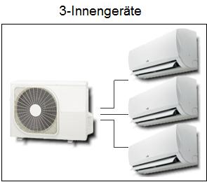 multi split klimaanlagen mit 3 inneneinheiten i online shop. Black Bedroom Furniture Sets. Home Design Ideas